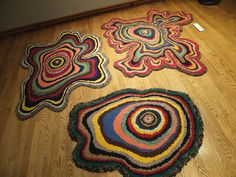 post card salon was an event which recently occurred at the muskegon art museum the exhibit featured small scale original ar. Rug Hooking Designs, Rug Hooking Patterns, Penny Rugs, Diy Carpet, Rugs On Carpet, Carpets, Crochet Art, Freeform Crochet, Motif Vintage