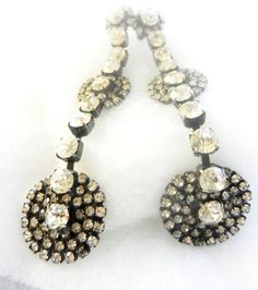 RESERVED for MARTHA--Original  1970, earring's Diva-signed Italian Jewelry-long earrings with crystals & silver -unique,spectacular -Art.606