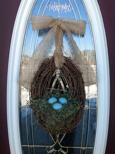 Easter Wreath Spring Wreath Summer Wreath Grapevine Door Wreath Basket Decor. Note the way she tied the burlap to be a bow and a hanger.