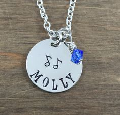 Personalized, Handstamped Little Girl Name Necklace - Little Girl Musical Note Necklace - Music Lover Necklace - Birthday Party Favors by SunflowerShadows on Etsy