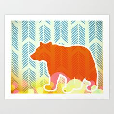 Bear Art Print by MAKE ME SOME ART - $20.00