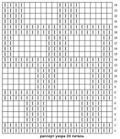 В схеме указаны и лицевые и изнаночные ряды. Раппорт узора 22 петли в ширину и 28 рядов в высоту. Пустая клеточка -изнаночная ( в лицевых рядах изнаночной, в изнаночных рядах- лицевой)