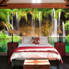 bedroom living waterfall 3d mural landscape wall murals backdrop decor floor background