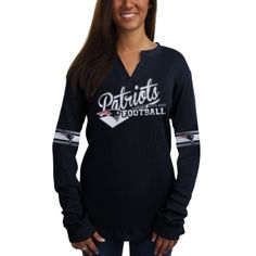 ec68113451619 New England Patriots Ladies V-Neck Long Sleeve Thermal T-Shirt - Navy Blue