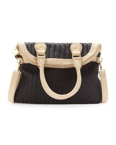 Fold-Over Woven Tote, Black/Beige by Neiman Marcus at Last Call by Neiman Marcus.