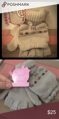 Mint Wooly Gloves - Winter 2016 Pusheen Box Incredibly cute gloves from the Winter 2016 Pusheen Box. This is an exclusive item so it's pretty hard to find.   The cat face can be buttoned back to transform the mittens into fingerless gloves.  It's like having two gloves in one!   Never worn, NWT Pusheen Accessories Gloves & Mittens