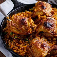 One Pan Crispy Spanish Chicken and Rice (Arroz Con Pollo)   http://cafedelites.com