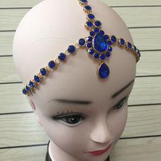 Handmade Kundan  BLUE stones hair chain head chain wedding bridal head Jewelry