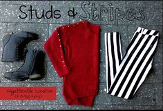 Studs and stripes. Belle boutique. Fall fashion