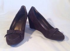 Donna Karan Shoes 8.5 Suede Leather Wedge Brown Dknyc #DKNY #PlatformsWedges #WeartoWork
