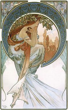 アルフォンス・ミュシャの 柔らかいタッチの絵が好き Poetry By Alphonse Mucha ~ Art Nouveau