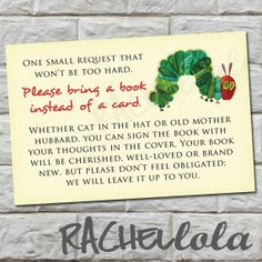 Bring a Book instead of a Card Insert, The very Hungry Caterpillar, Baby Shower, Instant Download