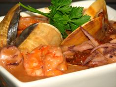 This is a really delicious and easy way to use Seafood. I think many people are intimidated by cooking Seafood but I find that there are a few rules that I Seafood Soup, Fish And Seafood, Fish Recipes, Seafood Recipes, Drink Recipes, Cooking Calamari, South African Recipes, Ethnic Recipes, My Favorite Food