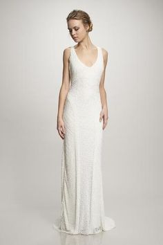 Caitlin - #890062 - White sequinned deco gown