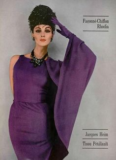 Jacques Heim  Model Wilhelmina Cooper wearing Jacques Heim,in photo to the French Fashion Magazine:L'Officiel,August 1962.