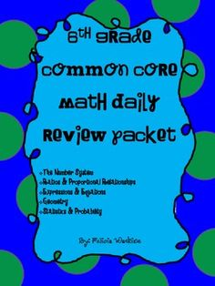 6th Grade Math Common Core Weekly Daily Warm Ups  $4.00 *ALL STANDARDS*