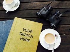 Yellow Book cover design with Binocular Mockup