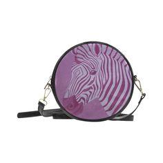 Magenta Zebra Round Messenger Bag (Model 1647)