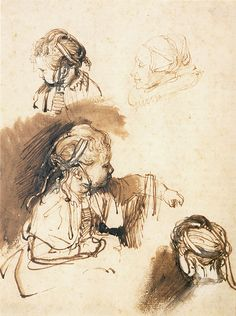 Rembrandt Harmensz van Rijn - Three Studies of a Child and One of an Old Woman, Brown ink, brown wash and white gouache on white antique laid paper, Rembrandt Drawings, Painting Still Life, Sketches, Famous Artists, Art Drawings, Dutch Artists, Artist, Life Drawing, Drawing Sketches
