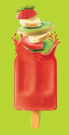 Monstro CGI and Illustration Studio on Behance Food Graphic Design, Menu Design, Food Design, Ice Cream Packaging, Fruit Packaging, Fruit Popsicles, Fruit Ice, Gelato, Ice Cream Poster