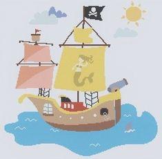 Das Piratenschiff segelt fröhlich auf dem Meer - Stickdatei via Makerist.de