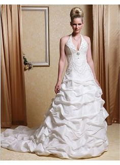 Beautiful Ball Gown Halter Taffeta Chapel Train Wedding Dress