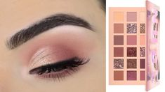 Huda Beauty New Nude Eyeshadow Palette Soft Eye Soft Eye Makeup, Smoky Eye Makeup Tutorial, Glitter Eye Makeup, Nude Eyeshadow, Nude Makeup, Pink Makeup, Smokey Eye Makeup, Gel Eyeliner, Huda Palette