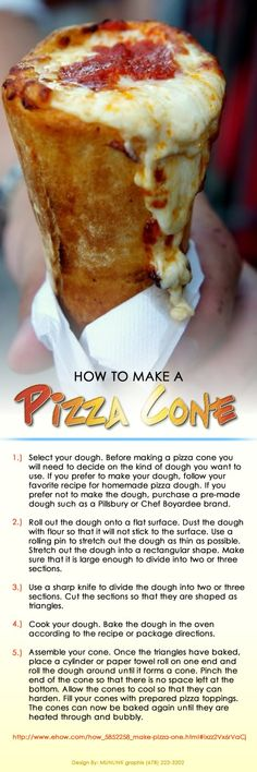 How to Make a Waffle Cone Without a Waffle Iron It is a Pizza Cone! Get the tools here: www. Bread Cones, Pizza Cones, Good Food, Yummy Food, Tasty, Paleo Food, Healthy Food, How To Make Pizza, Food To Make