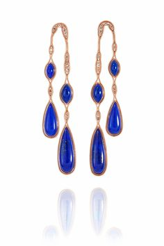 Fernando Jorge Fluid Diamonds and Lapis Long Doubled Earrings