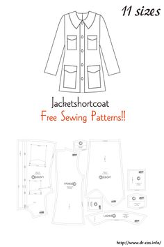 This is the pattern of a Jacket short coat. Coat Pattern Sewing, Sewing Patterns Free, Free Sewing, Making Clothes, Make Your Own Clothes, Fashion Patterns, Clothing Patterns, Felt Projects, Sewing Projects