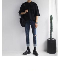 Buy Real Boy Short-Sleeve Crewneck T-Shirt Korean Fashion Men, Korean Street Fashion, Kpop Fashion, Fashion Outfits, Korean Outfits, Mode Outfits, Stylish Mens Outfits, Casual Outfits, Fall Outfits
