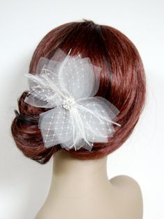 Tulle & Birdcage Butterfly Veil Poof Fascinator  by FascinateMeLLC, $30.00