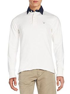 GANT Regular-Fit Contrast-Collar Polo Shirt - Bianco - Size
