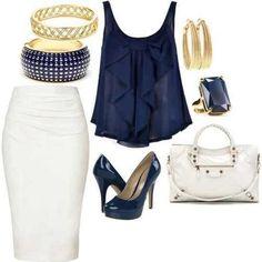 Long white pencil skirt