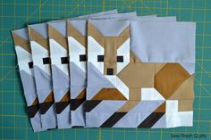 Fox #1 Quilt Block Pattern, PDF, Instant Download, modern patchwork, fox, animal, cute, forest, woodland