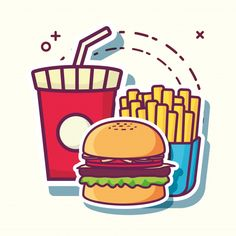 Copo de bebida macia com hambúrguer e ba. Cartoon Wallpaper Iphone, Food Wallpaper, Pop Art Food, Food Sketch, Graffiti Characters, Food Picks, Cool Stickers, Food Illustrations, Spongebob