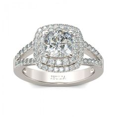 Halo Split-Shank Cushion Cut White Sapphire Rhodium Plated Sterling Silver Women's Engagement Ring