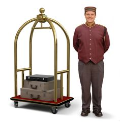 Bellhop with Luggage Cart. Bellhop in retro uniform and luggage cart on a white , Hotel Uniform, Men In Uniform, Cabaret, Train Costume, Independence Day Special, Paris In Spring, Hotel Staff, Don Juan, Hotel Lobby