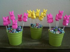 Peeps candy centerpieces for our Easter kids' table.