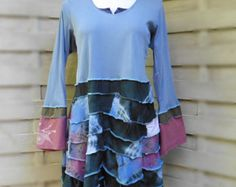 tunic 22 - 24 Upcycled dress woman recycled cotton recycled plus size