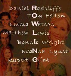 R - Daniel Radcliffe. O - Tom Felton. W - Emma Watson. L - Matthew Lewis. I…