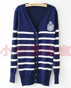 d7deeda7b5 New Hot Stripe Button Crochet Knit Top Sweater V Neck Long Sleeve Shirt  Cardigan