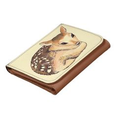 Baby Deer Creme and Brown Wallet; ArtisanAbigail at Zazzle