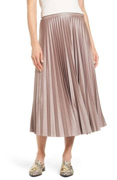 f53842ea2 Halogen® Metallic Pleat Midi Skirt (Regular & Petite) | Nordstrom