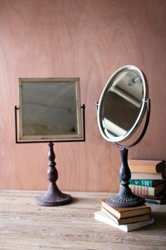 Kalalou Iron Mirror On A Stand - Yes, it reminds us of grandmother's bureau as well! Elegant and functional iron stand lets the mirror move to and fro to reflect your best side. A little over two feet tall.– Modish Store