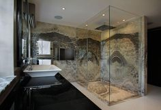 This is firstly such an eyecatching shower you don't immediately realise just how big it is! Great choice of material, great styling and somewhere to make a statement! Frameless Shower Enclosures, Frameless Shower Doors, Master Bathroom, Zen Master, Master Suite, Shower Cubicles, Shower Surround, Custom Shower, Wet Rooms