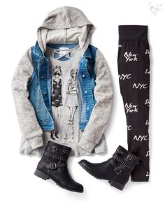 Pair cool printed leggings with a graphic tee and moto boots for style with edge. Add a comfy-but-stylish jacket for when temperatures fall!