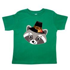 Thanksgiving Pilgrim Woodland Raccoon Toddler T-Shirt - Kelly Green Racoon, Teacher Shirts, Kelly Green, Coloring For Kids, Pilgrim, Big Kids, Cotton Tee, Woodland, Cute Animals