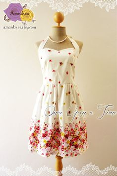 Shabby Chic Dress White with Floral Romantic Dress by Amordress, $45.00