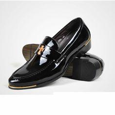 Mens Black Patent Leather Fashion Wedding Prom Dress Slip On Shoes SKU-1100545